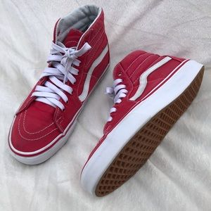VANS old school canvas high top sneaker shoes red